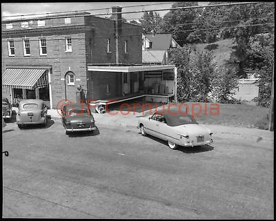 1950S Mobilgas Gas Station And Cars Street Scene Vtg 4X5 Photo Negative Vermont