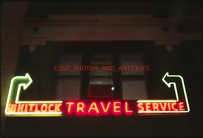 1960S Detroit Travel Agency Neon Arrow Sign Glowing At Night 35Mm Photo Slide