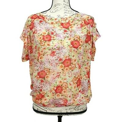 46e6f508fb621 Zara Basic Multi Color Floral Sheer Top size Large
