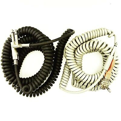 """2x Vintage Coily Cable Original 1960s Coiled 1/4"""" Guitar Lead Instrument Hendrix"""