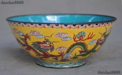 Old China Bronze Cloisonne Dragon Beast Beads Statue Dynasty palace Tea cup Bowl
