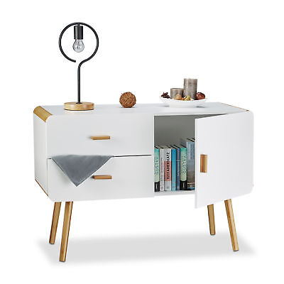 Commode nordique scandinave sideboard buffet meuble appoint tiroirs blanc pieds