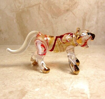 Maroon TIGER hand blown ART GLASS figurine miniature animal - GIFT Cute