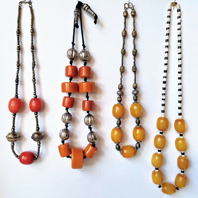 BAKELITE LOT Deco Faturan Amber Bead Necklaces Vintage Collection