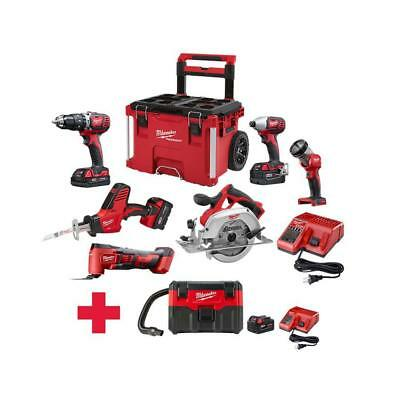 Milwaukee 18-Volt Cordless Combo Kit 7-Tool 4-Batteries Charger Rolling Tool Box
