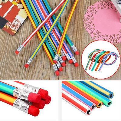 10x Flexible Magic Bendy Soft Pencil with Eraser Colorful Kids Fun Writing Gift