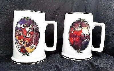 Vintage 2 Coca-Cola Collector Edition SANTA Gold Trimmed Christmas 2 Mug 1996