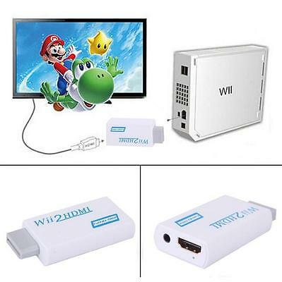 Wii to HDMI Wii2hdmi 720/1080P HD Upscaling Converter Adapter TV 3.5mm Audio Q~