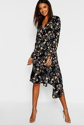 Boohoo Womens Tall Tie Front Wrap Midi Dress