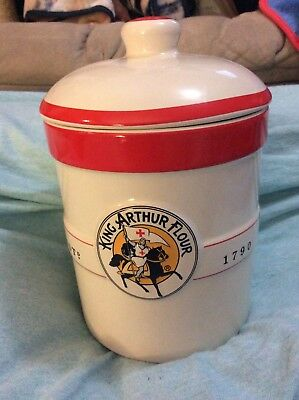 """King Arthur Flour 7.5"""" Ceramic Canister W Lid Crock White Red Collectible Home"""