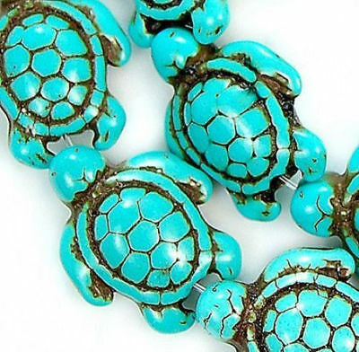 13x 17mm Turquoise Carved Turtle Spacer Loose Beads 16''  Round Spacer Howlite