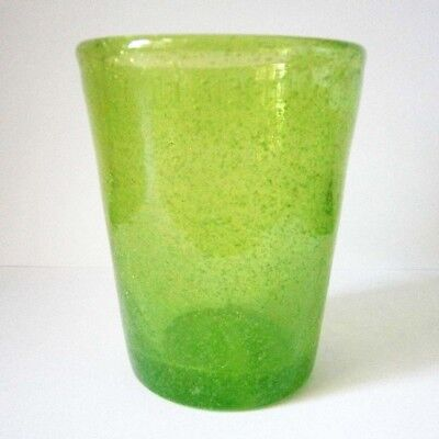 FUNKY HAND MADE LIME GREEN GLASS TUMBLER / CANDLE HOLDER with BUBBLES