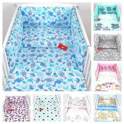 3 PIECES NURSERY to fit COTBED -140X70cm-BABY BEDDING-BUMPER-PILLOW-QUILT COVERS