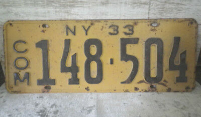 Vintage 1933 New York Commercial #148-504  Commercial License Plate