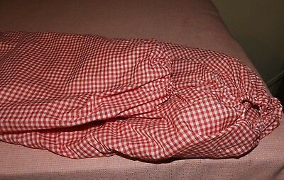 Two  Fitted Cot Sheets/  Red And White Checks