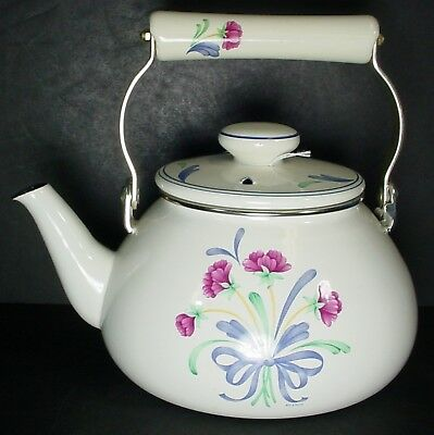 LENOX china POPPIES ON BLUE pattern Metal Tea Pot or Kettle Ceramic Handle