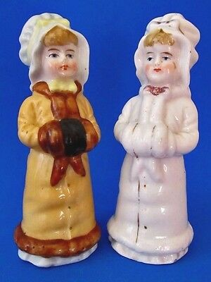 KATE GREENAWAY * VICTORIAN GIRLS * Salt and Pepper Shakers * GERMANY 1900-20s