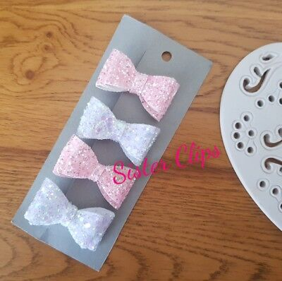 Girls Handmade 4 baby/toddler small white & pink Glitter Hair Bow clips