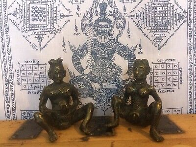 Large Pair Of Antique Bronze Fertility Statues From Burma. Oversize Genitalia