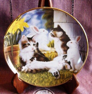 Assiette Decorative Chat - Kittens And Cottontails By Sprovach - Franklin Mint