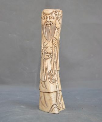 Chinese Precious Old Cattle bone Carved Old man Longevity Gods Peach Ruyi Statue