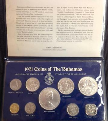 1971 Bahamas Uncirculated Mint Set 9 Coins With Silver Low Mintage