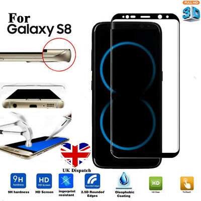 For Samsung Galaxy S8 3D Full Curved Tempered Glass LCD Screen Protector Black x