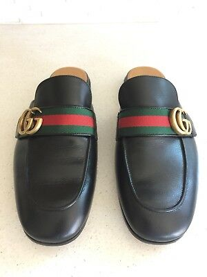 09ebc186a04 GUCCI MEN PRINCETOWN Black Leather Double G Web Slippers Shoes 5.5 ...