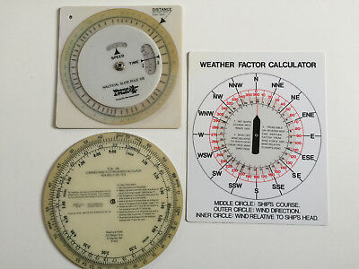 Nautical Slide Rule 105, WIND Plotting Board , Weather Factor calculator