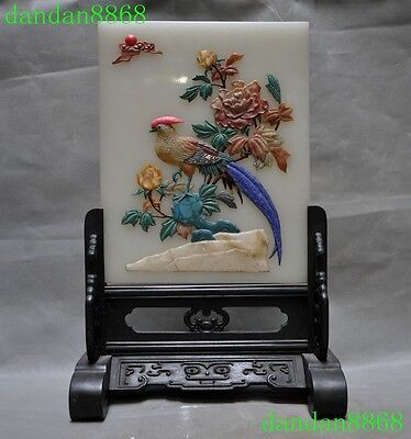 old china Rosewood wood inlay White marble jade shell flower bird Screen statue