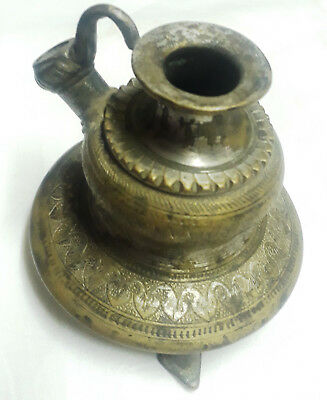 Vintage Old Collectible Hand Carved Heavy Brass Islamic Mughal Hookah Pot