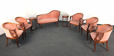 Antike Sitzgarnitur Sofa Sessel Chippendale Biedermeier Empire alt Schwan Holz
