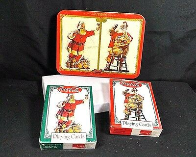 Coca Cola Nostalgia Playing Cards 2 Decks 1994 Coke Santa Collectible Tin Sealed