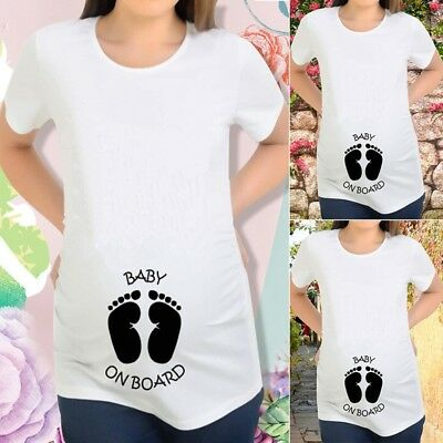52b5eb90c76b9 Maternity Footprint Baby On Board Print T-shirt Pregnant Women Tee Top  Pregnancy