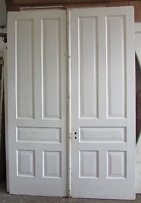 Double Five Panel 1890's Painted White Oversized Doors Architectural Salvage