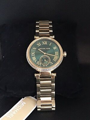 11086d38557d MICHAEL KORS WOMENS MK6065 Skylar Emerald Crystal GoldTone Stainless ...