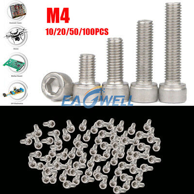 10/20/50/100pcs M4 Stainless Steel Allen Hex Bolt Socket Cap Screws Head DIN912
