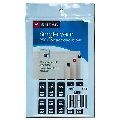 "Smead 67919 Year 2019 End Tab Folder Labels, Black, 1/2 x 1"", Pack of 250"