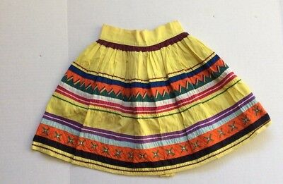 Vtg Seminole Native American Patchwork Skirt Yellow