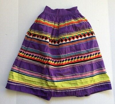 Vtg Seminole Native American Patchwork Skirt Purple