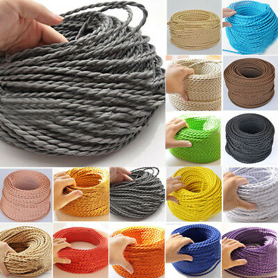 Coloured Fabric Cable Braided interiors Two Core Twisted Vintage shabby chic