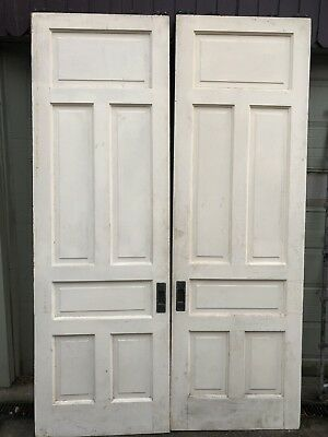 Antique Raised Panel Pocket Doors With All Hardware, Rollers, Tracks.