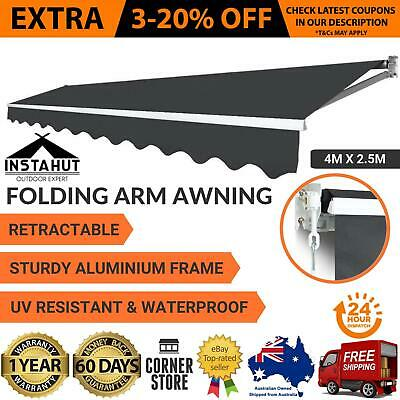 New OUTDOOR FOLDING RETRACTABLE ARM AWNING Sunshade Canopy Shade Patio 4x2.5M