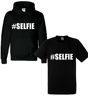 Kids Girls Boys Sweatshirts Tops #Selfie Hooded Jumpers Hoodies New Age 2-13 Yr