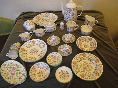 Fine Selection Of Minton Haddon Hall Green Edge  Dinner And Teaware