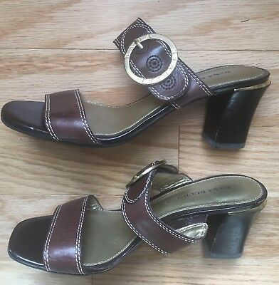 7e3ade963aeda Womens DANA BUCHMAN Brown Leather Sandals Heels Shoes Size 7M
