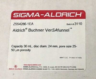 Sigma Aldrich Buchner VerSAfunnel Glass Funnel 30mL 24mm dia. Z554286