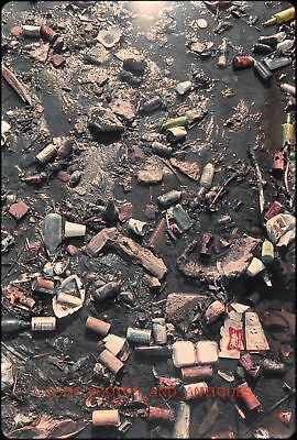 Early 1970S Beer & Soda Cans Bottles Trash In Mud Orig 35Mm Photo Slide Abstract