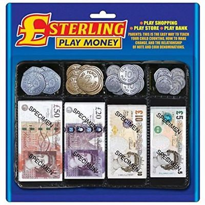 Pretend Toy Play Money - Childrens Realistic Fake Plastic Coins and Paper Notes