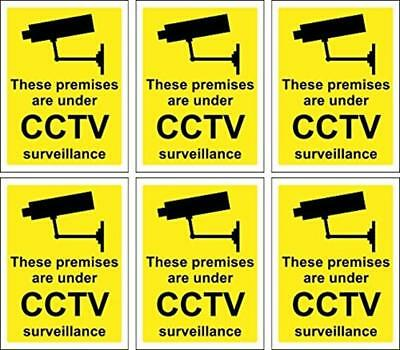 Set Security 6 X CCTV Signs Self Adhesive 100Mm X 75Mm Suitable For Outdoor Use